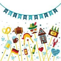 flache designvektorillustration mit oktoberfestfeiersymbolen. oktoberfestfeierdesign mit bayerischem hut und herbstblättern und deutschlandsymbolen. vektor