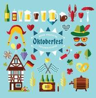 flache Design-Vektor-Icons mit Oktoberfest-Feier-Symbolen. oktoberfestfeierdesign mit bayerischem hut und herbstblättern und deutschlandsymbolen vektor