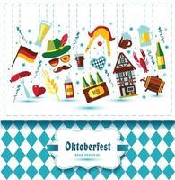 flache designvektorillustration mit oktoberfestfeiersymbolen. Oktoberfest-Feier-Design mit bayerischem Hut und Herbstlaub und Deutschland-Symbolen auf blauem Hintergrund. vektor