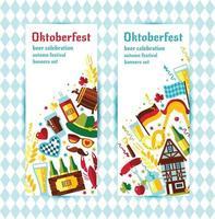 flache designvektorfahnen mit oktoberfestfeiersymbolen. oktoberfestfeierdesign mit bayerischem hut und herbst- und deutschlandsymbolen. vektor