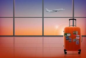 modern flygplatsinredning med stort fönster på kvällen vektor