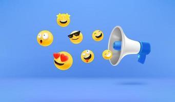 Megaphon mit Emojis. Social-Media-Reaktionskonzept vektor