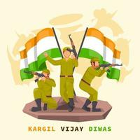 indischer Soldat mit Pistole mit Flagge vektor