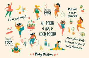Kroppspositiv. Lyckliga plusstorlekflickor och aktiv hälsosam livsstil.