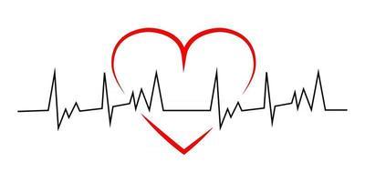 rotes Herz mit schwarzer Linie Herzschlag vektor