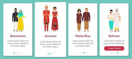 Indonesische ethnische Gruppen beim Onboarding der mobilen App-Bildschirmvektorvorlage. Kultur und Traditionen. Walkthrough-Website-Schritte mit flachen Zeichen. ux, ui, gui Smartphone-Cartoon-Schnittstellenkonzept vektor