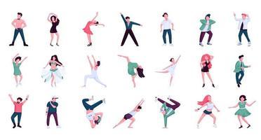 Menschen tanzen flache Farbvektor gesichtslosen Zeichensatz. Ballett, Hip-Hop-Tänzer und Tänzerinnen. historische und zeitgenössische Tanzstile isolierte Cartoon-Illustrationen auf weißem Hintergrund vektor