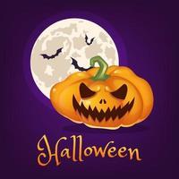 beängstigend Kürbis-Cartoon-Vektor-Illustration. Halloween-Laterne mit bösem Lächeln, Mond und Fledermäusen isolierte Cliparts mit Schriftzug. realistischer orangefarbener Kürbisaufkleber, Aufnäher. Social-Media-Beitrag zu den Herbstferien vektor