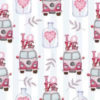 Satz von großen isolierten Aquarell Valentinstag Konzept Element schöne romantische rot-rosa Herzen für die Dekoration, Vektor-Illustration. vektor