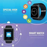 realistische Smartwatch-Banner-Set-Vektor-Illustration vektor