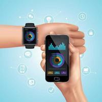 realistische Smartwatch- und Mobiltechnologie-Kompositionsvektorillustration vektor