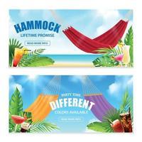 realistische hängematte tropische banner set vector illustration