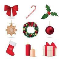 Elemente der Weihnachtssammlungsvektorillustration vektor