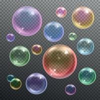 Seifenblasen realistische transparente Vektorillustration vektor