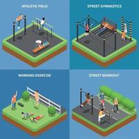 Street Workout isometrische Design-Konzept-Vektor-Illustration vektor