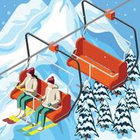 isometrische Hintergrundvektorillustration des Skigebiets Standseilbahn vektor