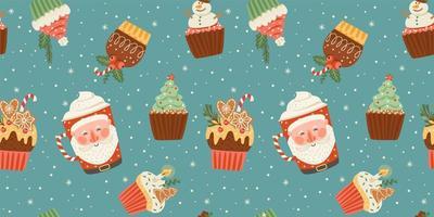 Weihnachten und guten Rutsch ins Neue Jahr nahtlose Muster mit Weihnachtsbonbon und Getränk. Vektor-Design-Vorlage. vektor