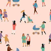 Schönen Muttertag. Vektornahtloses Muster mit Frauen und Kindern.