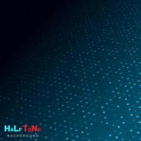 abstrakter blauer Halbton mit Punktmuster und leuchtenden Lichtern auf dunklem Hintergrundtechnologiestil. vektor
