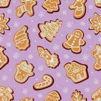 nahtloses Vektormuster von traditionellen Lebkuchen in verschiedenen Formen für die Weihnachtsfeier inmitten von Schneeflocken vor violettem Hintergrund vektor