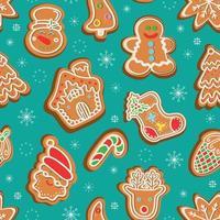 nahtloses Vektormuster von traditionellen Lebkuchen in verschiedenen Formen für die Weihnachtsfeier inmitten von Schneeflocken vor grünem Hintergrund vektor