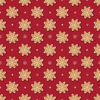 nahtloses Vektormuster aus traditionellen Lebkuchen und kleinen weißen Schneeflocken auf rotem Hintergrund vektor