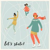 Vektor illustration av kvinnor skridskor. Trendig retrostil.