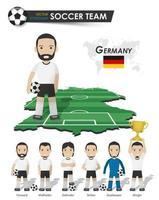 deutsche Fußballnationalmannschaft. Fußballspieler mit Sporttrikot steht auf perspektivischer Feldlandkarte und Weltkarte. Reihe von Fußballspielerpositionen. Cartoon Charakter flaches Design vektor