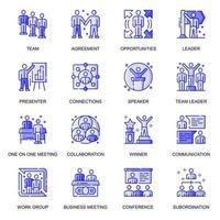 Geschäftsleute Web flache Linie Icons Set vektor