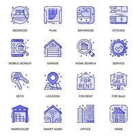 Immobilien-Web-Flat-Line-Icons gesetzt vektor
