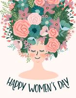 Internationaler Frauentag. Vektorschablone mit netter Frau