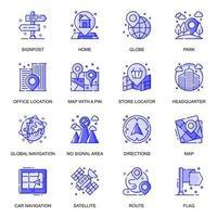 Navigations-Web-Flat-Line-Icons gesetzt vektor