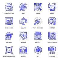 Bilder Web flache Linie Icons Set vektor
