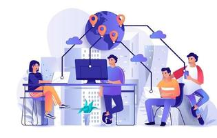 Outsourcing-Firmenkonzept im Flat Design vektor