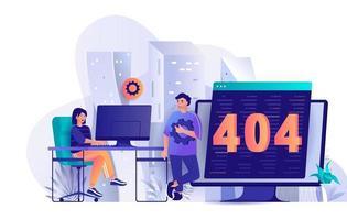 404-Seitenfehlerkonzept im flachen Design vektor