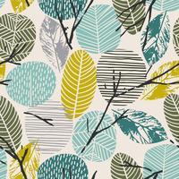 Nahtloses Muster des abstrakten Herbstes mit Bäumen. Vektorhintergrund für verschiedene Oberfläche.
