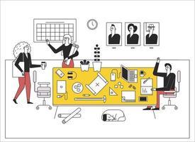 Kollegen im Büro sagen hallo. Büroeinrichtung in einem komplexen Interieur. Illustrationen zum Vektordesign. vektor