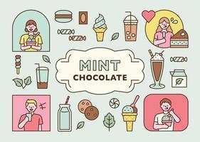 verschiedene Dessertsymbole mit Minzgeschmack und Leute, die sie genießen. minimale Vektorillustration des flachen Designstils. vektor