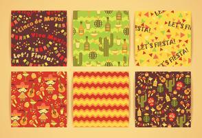 Set med vektor sömlösa mönster med traditionella mexikanska symboler