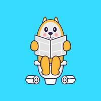 süßer Hund, der auf Toilette kackt und Zeitung liest. Tierkarikaturkonzept isoliert. kann für T-Shirt, Grußkarte, Einladungskarte oder Maskottchen verwendet werden. flacher Cartoon-Stil vektor
