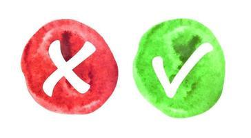 Vektor-rote und grüne Wasserzeichen-Häkchen-Symbole vektor