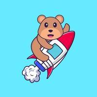 süßer Bär, der auf Rakete fliegt. Tierkarikaturkonzept isoliert. kann für T-Shirt, Grußkarte, Einladungskarte oder Maskottchen verwendet werden. flacher Cartoon-Stil vektor