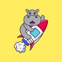 Süßes Nilpferd, das auf Rakete fliegt. Tierkarikaturkonzept isoliert. kann für T-Shirt, Grußkarte, Einladungskarte oder Maskottchen verwendet werden. flacher Cartoon-Stil vektor