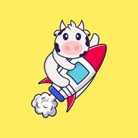 süße Kuh, die auf Rakete fliegt. Tierkarikaturkonzept isoliert. kann für T-Shirt, Grußkarte, Einladungskarte oder Maskottchen verwendet werden. flacher Cartoon-Stil vektor