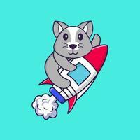 süße Ratte fliegt auf Rakete. Tierkarikaturkonzept isoliert. kann für T-Shirt, Grußkarte, Einladungskarte oder Maskottchen verwendet werden. flacher Cartoon-Stil vektor