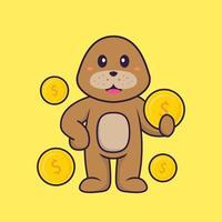 süßer Hund, der Münze hält. Tierkarikaturkonzept isoliert. kann für T-Shirt, Grußkarte, Einladungskarte oder Maskottchen verwendet werden. flacher Cartoon-Stil vektor