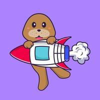 süßer Hund, der auf Rakete fliegt. Tierkarikaturkonzept isoliert. kann für T-Shirt, Grußkarte, Einladungskarte oder Maskottchen verwendet werden. flacher Cartoon-Stil vektor