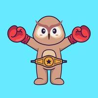 süße Eule im Boxerkostüm mit Championgürtel. Tierkarikaturkonzept isoliert. kann für T-Shirt, Grußkarte, Einladungskarte oder Maskottchen verwendet werden. flacher Cartoon-Stil vektor