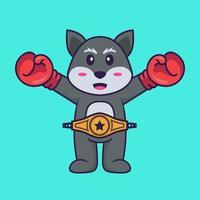 süßer Fuchs im Boxerkostüm mit Championgürtel. Tierkarikaturkonzept isoliert. kann für T-Shirt, Grußkarte, Einladungskarte oder Maskottchen verwendet werden. flacher Cartoon-Stil vektor