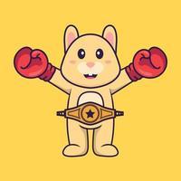 süßes Kaninchen im Boxerkostüm mit Championgürtel. Tierkarikaturkonzept isoliert. kann für T-Shirt, Grußkarte, Einladungskarte oder Maskottchen verwendet werden. flacher Cartoon-Stil vektor